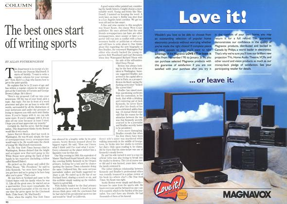 Article Preview: The best ones start off writing sports, December 1995 | Maclean's