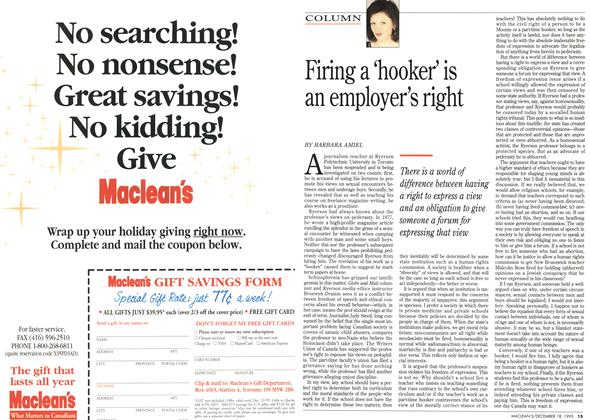 Article Preview: Firing a 'hooker' is an employer's right, December 1995 | Maclean's