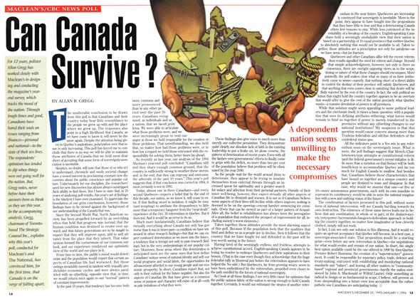Article Preview: Can Canada Survive?, DECEMBER 25,1995/JANUARY 1, 1996 1995 | Maclean's