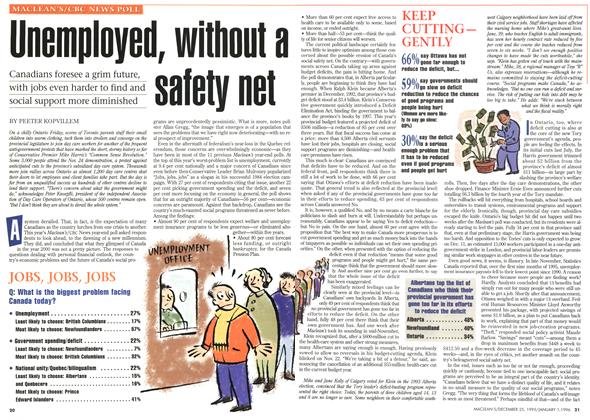 Article Preview: Unemployed, without a safety net, DECEMBER 25,1995/JANUARY 1, 1996 1995 | Maclean's