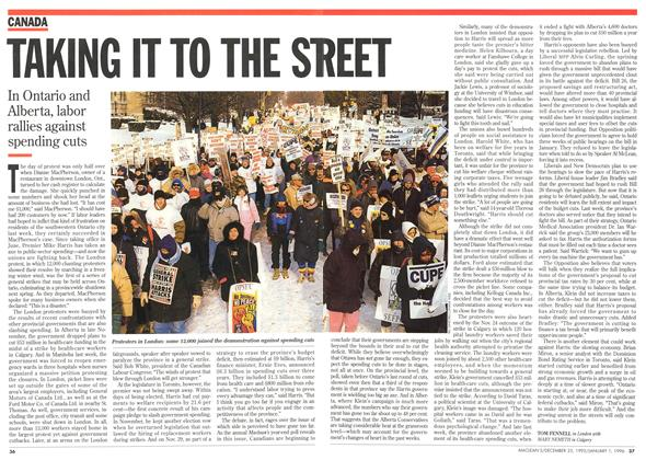 Article Preview: TAKING IT TO THE STREET, DECEMBER 25,1995/JANUARY 1, 1996 1995   Maclean's