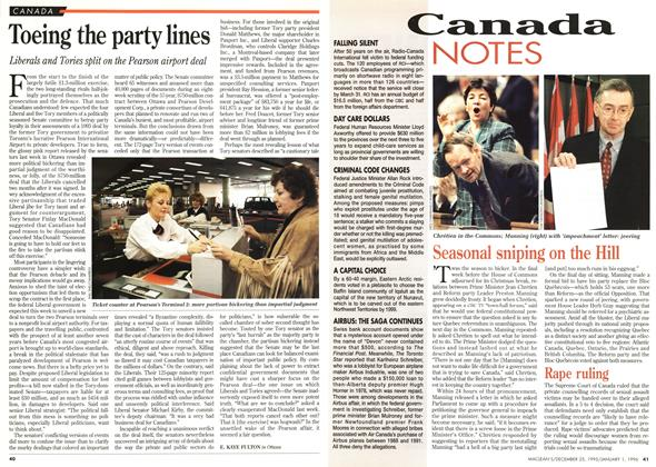 Article Preview: Toeing the party lines, DECEMBER 25,1995/JANUARY 1, 1996 1995 | Maclean's