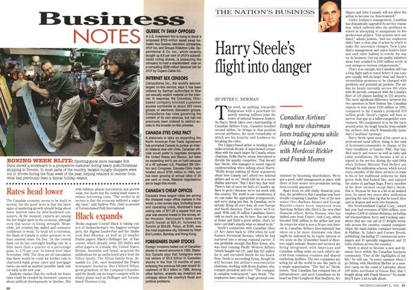 Article Preview: Harry Steele's flight into danger, January 1996 | Maclean's