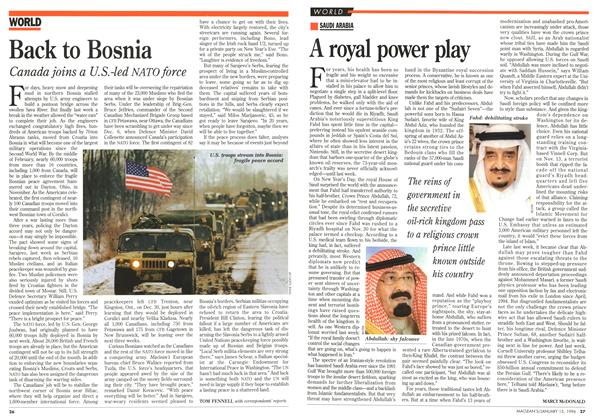 Article Preview: Back to Bosnia, January 1996 | Maclean's