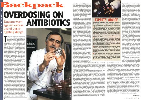 Article Preview: OVERDOSING ON ANTI BIOTICS, January 1996 | Maclean's