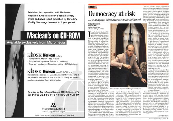 Article Preview: Democracy at risk, January 1996 | Maclean's