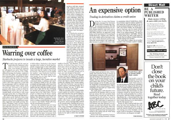 Article Preview: Warring over coffee, January 1996 | Maclean's
