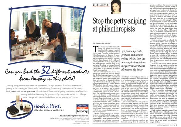 Article Preview: Stop the petty sniping at philanthropists, January 1996 | Maclean's