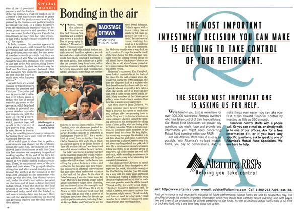 Article Preview: Bonding in the air, January 1996 | Maclean's