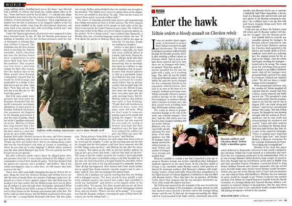 Article Preview: Enter the hawk, January 1996 | Maclean's