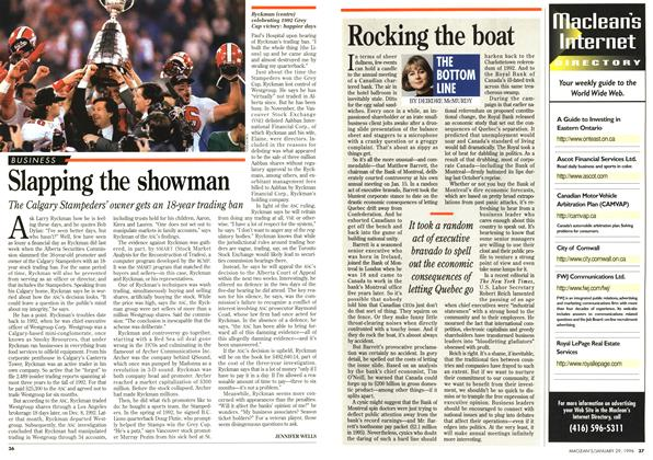 Article Preview: Slapping the showman, January 1996 | Maclean's
