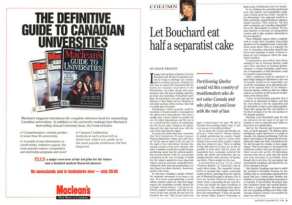 Article Preview: Let Bouchard eat half a separatist cake, January 1996 | Maclean's