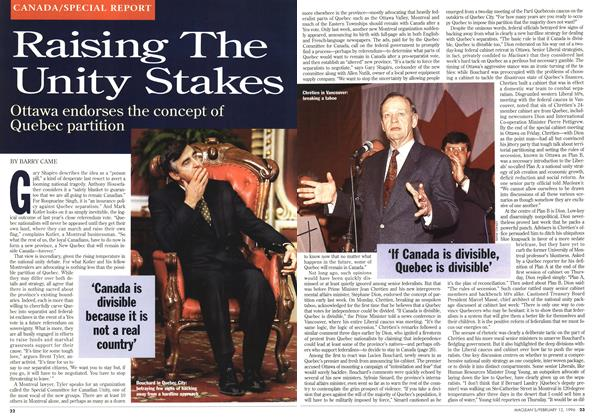 Article Preview: Raising The Unity Stakes, February 1996 | Maclean's
