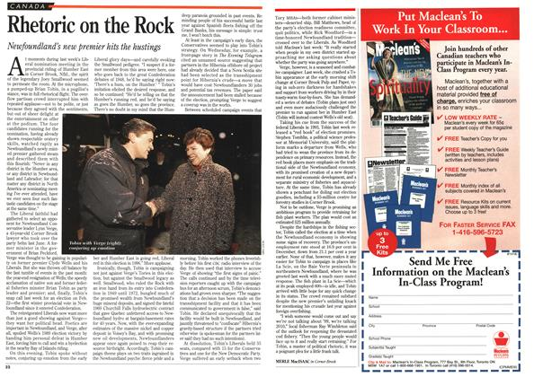 Article Preview: Rhetoric on the Rock, February 1996 | Maclean's