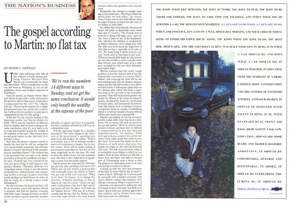 Article Preview: The gospel according to Martin: no flat tax, February 1996 | Maclean's