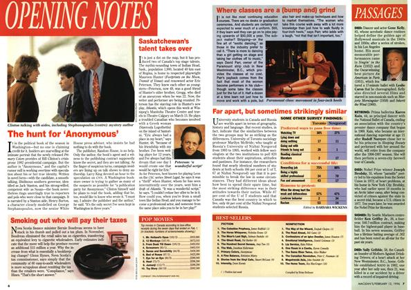 Article Preview: OPENING NOTES, February 1996 | Maclean's