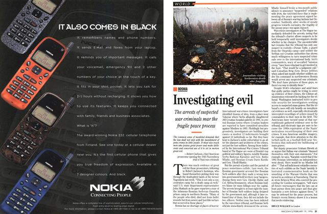 Article Preview: Investigating evil, February 1996 | Maclean's