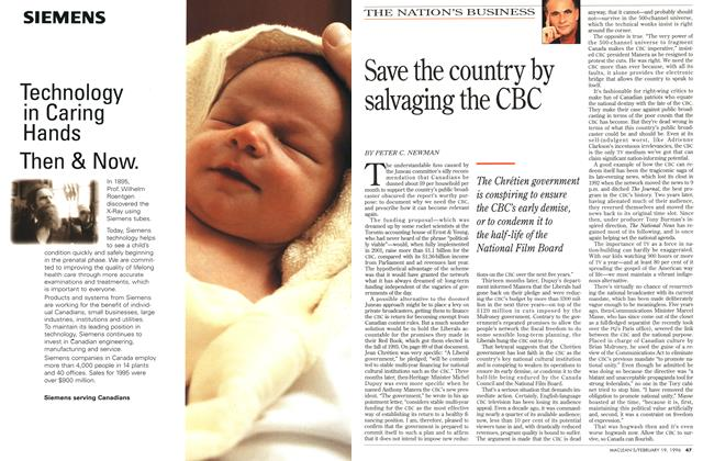 Article Preview: Save the country by salvaging the CBC, February 1996 | Maclean's