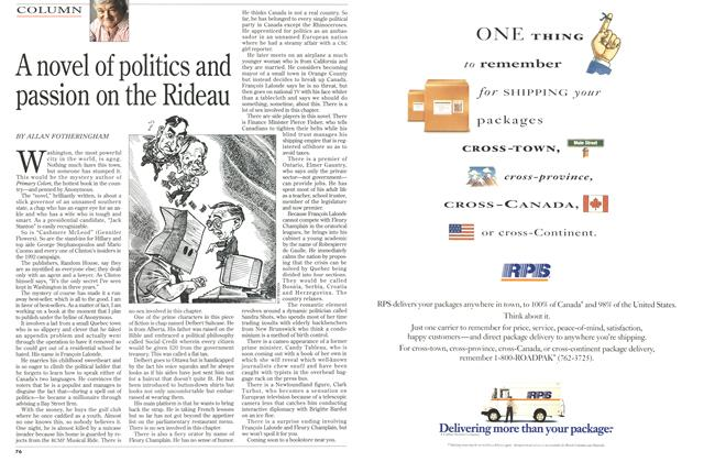 Article Preview: A novel of politics and passion on the Rideau, February 1996 | Maclean's