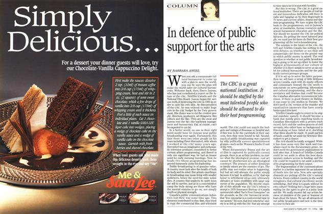 Article Preview: In defence of public support for the arts, February 1996 | Maclean's