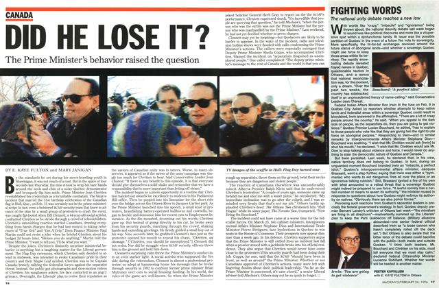 Article Preview: DID HE LOSE IT?, February 1996 | Maclean's