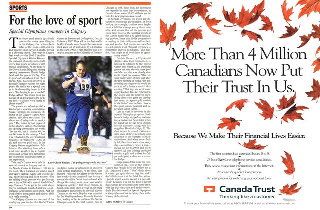 Article Preview: For the love of sport, February 1996 | Maclean's