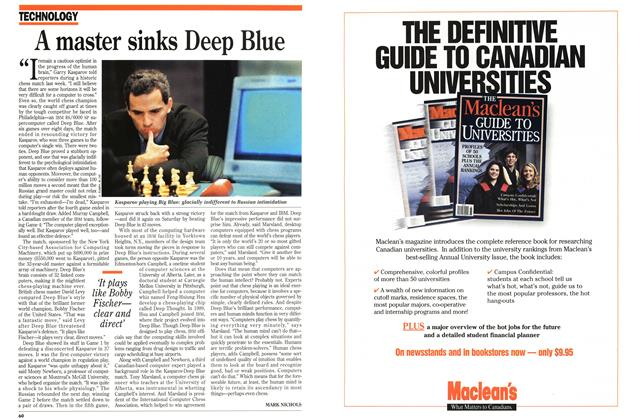 Article Preview: A master sinks Deep Blue, February 1996 | Maclean's