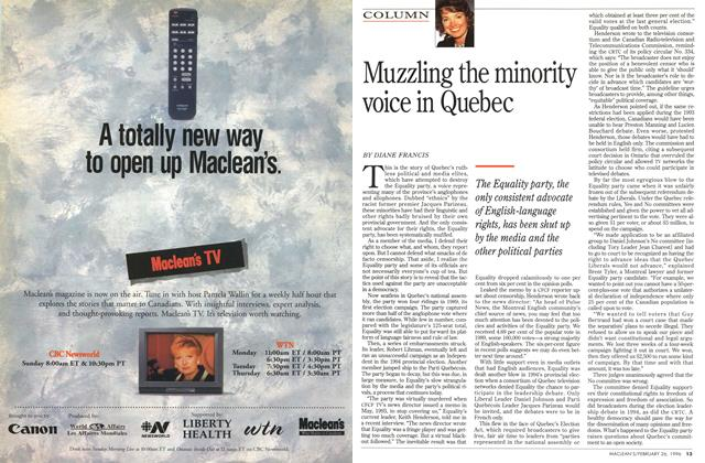 Article Preview: Muzzling the minority voice in Quebec, February 1996 | Maclean's