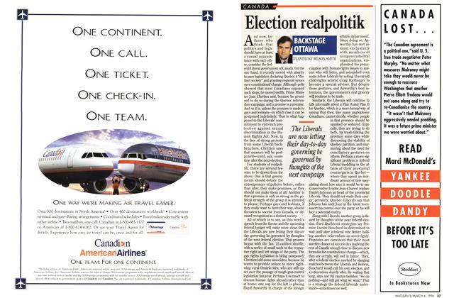 Article Preview: Election realpolitik, March 1996 | Maclean's