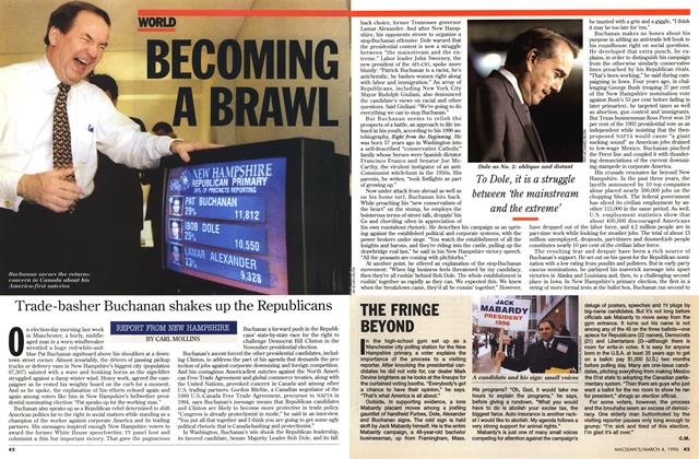 Article Preview: BECOMING A BRAWL, March 1996 | Maclean's