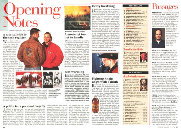 Article Preview: Opening Notes, March 1996 | Maclean's