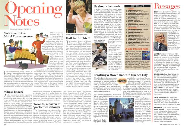 Article Preview: Opening Notes, MARCH 18,1996 1996 | Maclean's