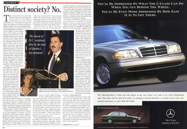 Article Preview: Distinct society? No., MARCH 18,1996 1996 | Maclean's