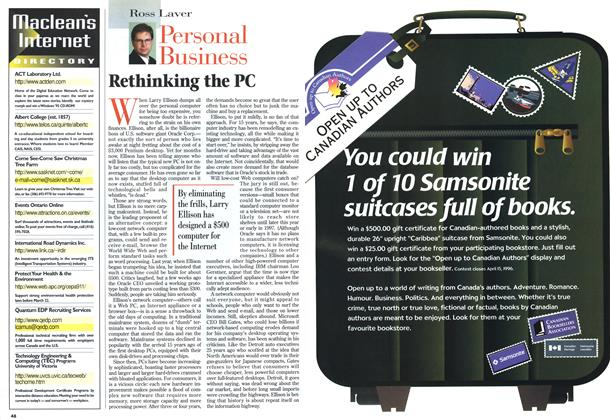 Article Preview: Rethinking the PC, MARCH 18,1996 1996 | Maclean's