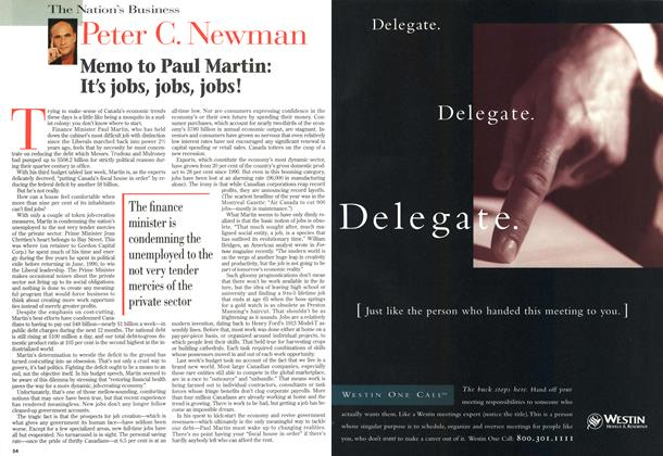 Article Preview: Memo to Paul Martin: It's jobs, jobs, jobs!, MARCH 18,1996 1996 | Maclean's