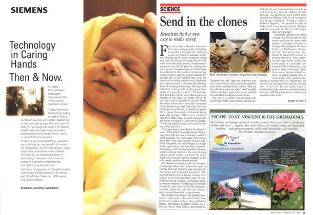 Article Preview: Send in the clones, MARCH 18,1996 1996 | Maclean's