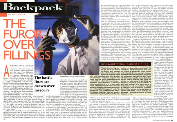 Article Preview: THE FUROR OVER FILLINGS, MARCH 18,1996 1996 | Maclean's