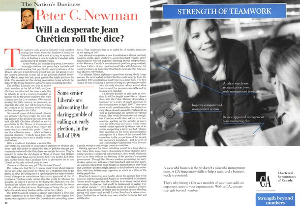 Article Preview: Will a desperate Jean Chrétien roll the dice?, March 1996 | Maclean's