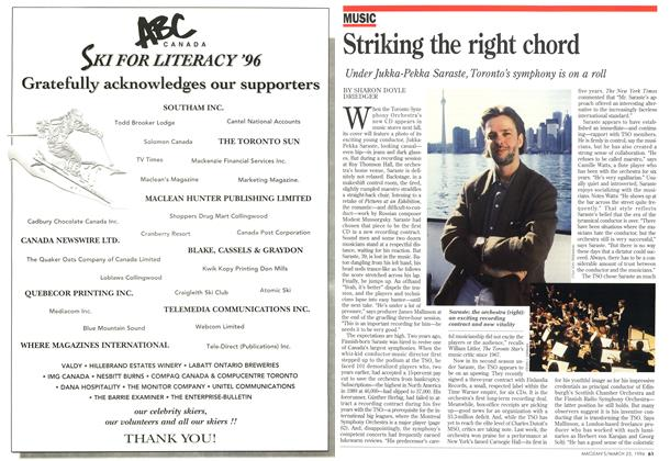 Article Preview: Striking the right chord, March 1996 | Maclean's