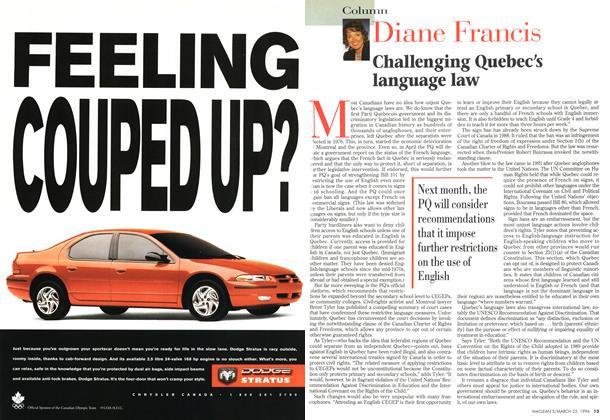 Article Preview: Challenging Quebec's language law, March 1996 | Maclean's