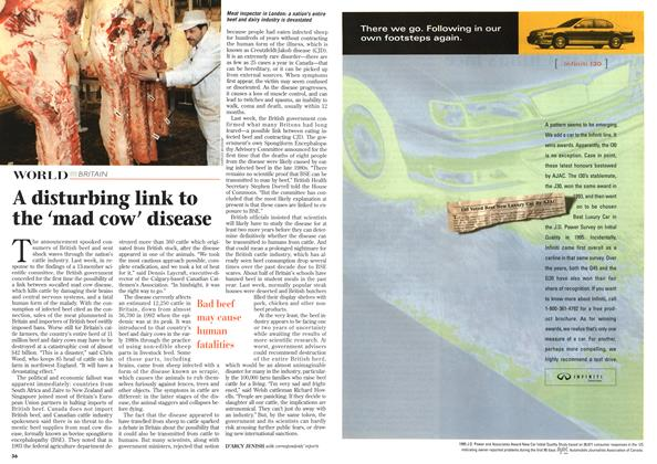 Article Preview: A disturbing link to the 'mad cow' disease, April 1996 | Maclean's