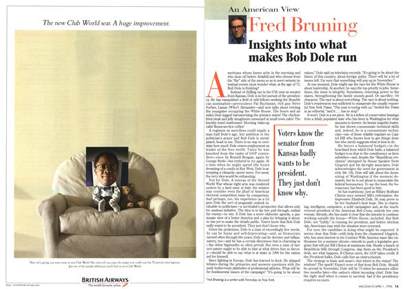 Article Preview: Insights into what makes Bob Dole run, April 1996 | Maclean's