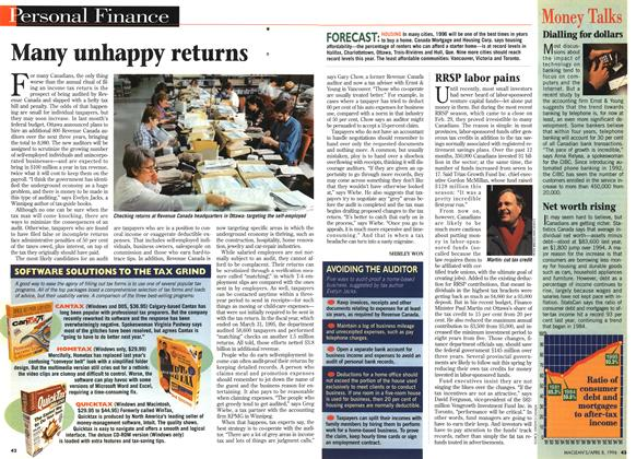 Article Preview: Many unhappy returns, April 1996 | Maclean's