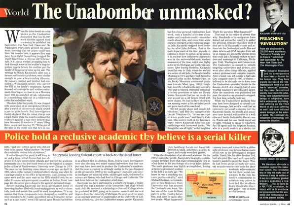Article Preview: The Unabomber unmasked ?, April 1996 | Maclean's
