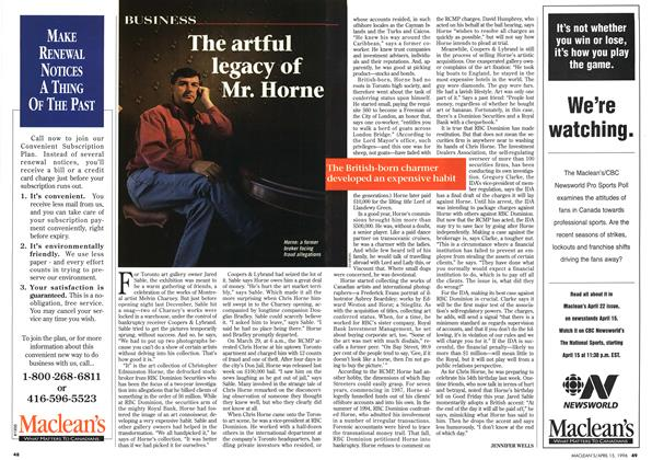 Article Preview: The artful legacy of Mr.Horne, April 1996 | Maclean's