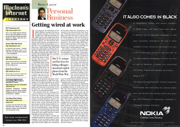 Article Preview: Getting wired at work, April 1996   Maclean's