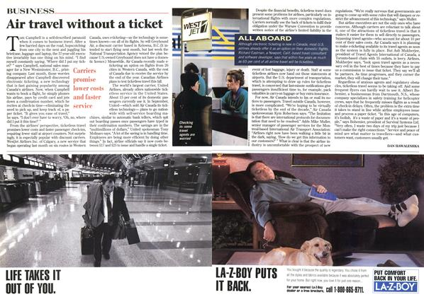 Article Preview: Air travel without a ticket, April 1996 | Maclean's