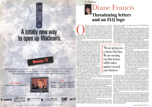 Article Preview: Diane Francis, April 1996 | Maclean's