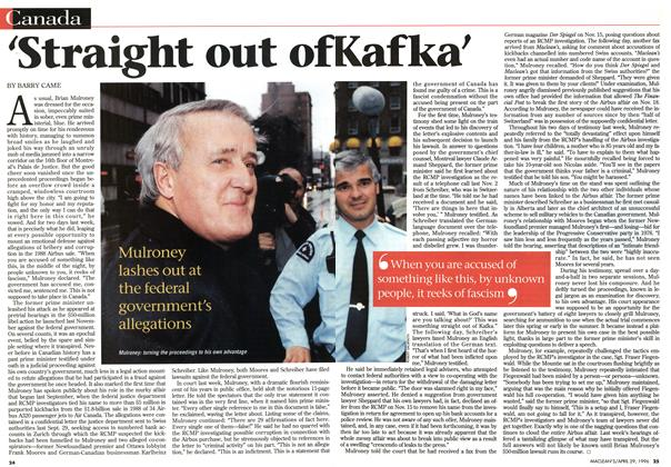 Article Preview: 'Straight out of Kafka', April 1996 | Maclean's
