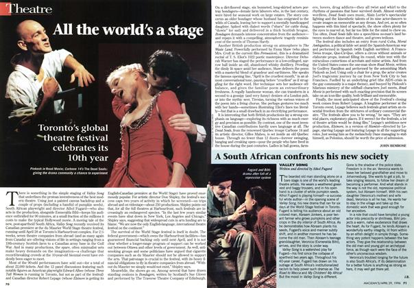Article Preview: All the world's a stage, April 1996 | Maclean's